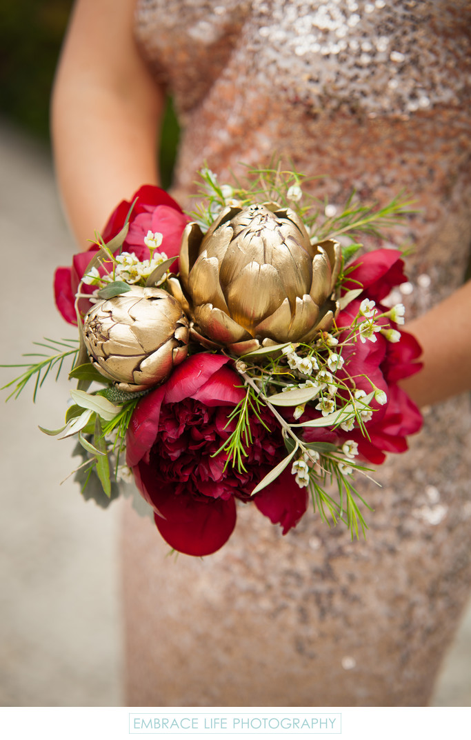 Gold Artichoke Bouquet on Gold Sequin Bridesmaid Dress