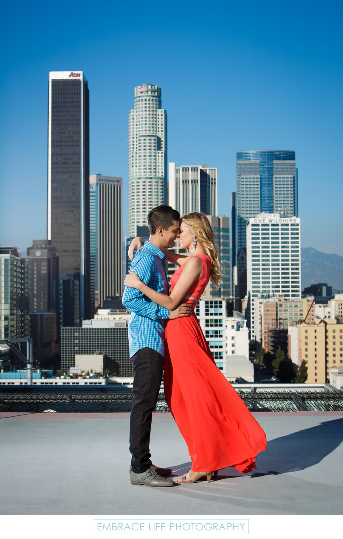 Downtown Los Angeles Engagement Portrait on a Rooftop
