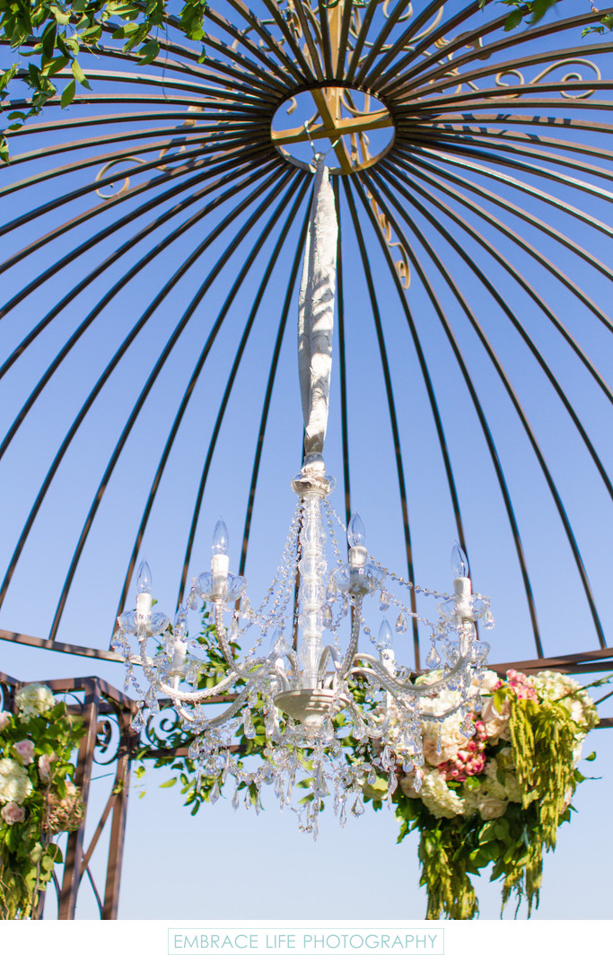 Crystal Chandelier Accent in Garden Chuppah