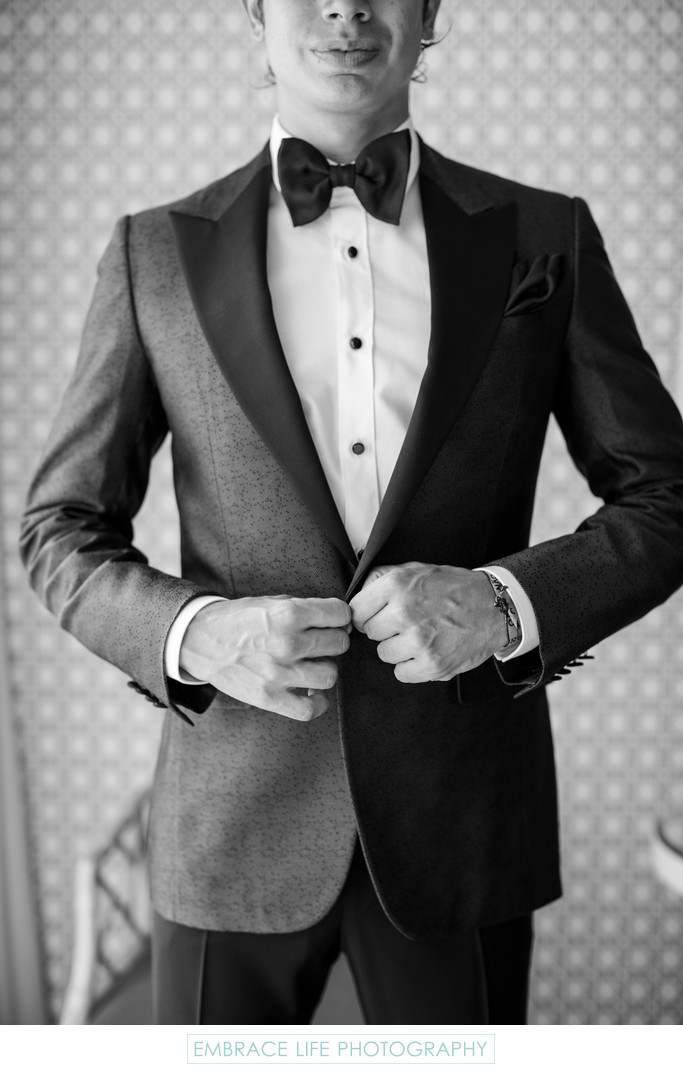 Black and White Closeup of Groom's Tuxedo Jacket