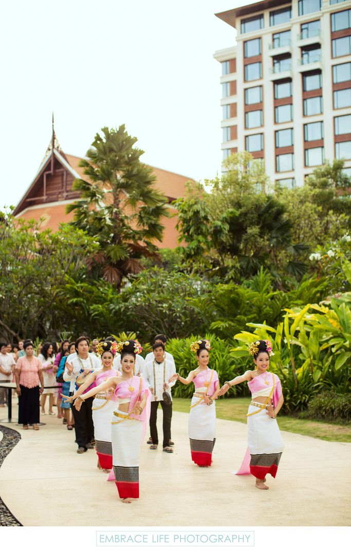 Thai Folk Dancers Lead Groom's Engagement Parade