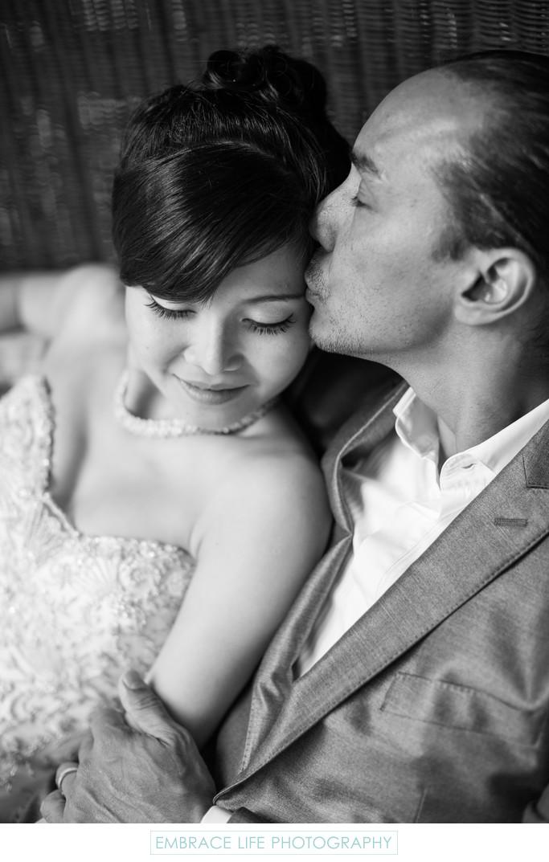 Groom Tenderly Kisses Bride