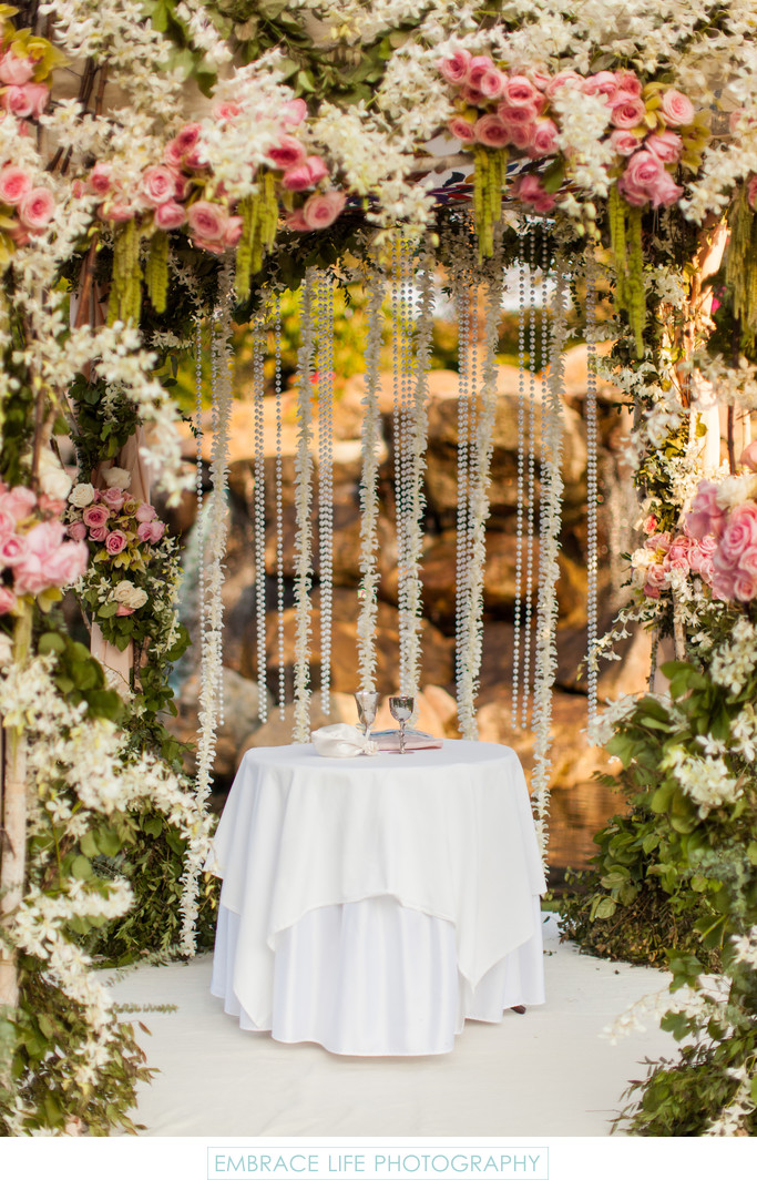 Orchid and Pearl Curtain Chuppah