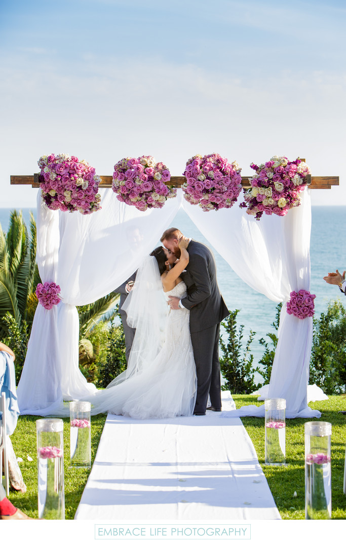 Los Angeles Beach Wedding Ceremony First Kiss