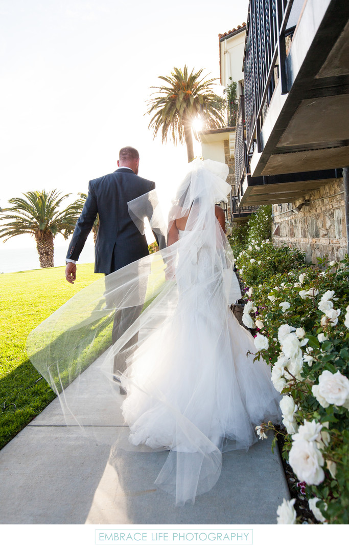 Bride and Groom Beach Wedding Recessional