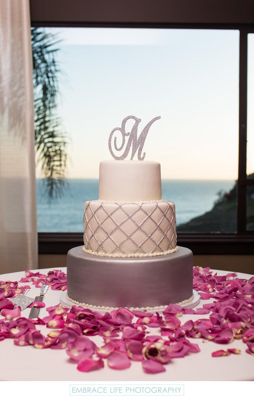 Silver And White Elegant Wedding Cake