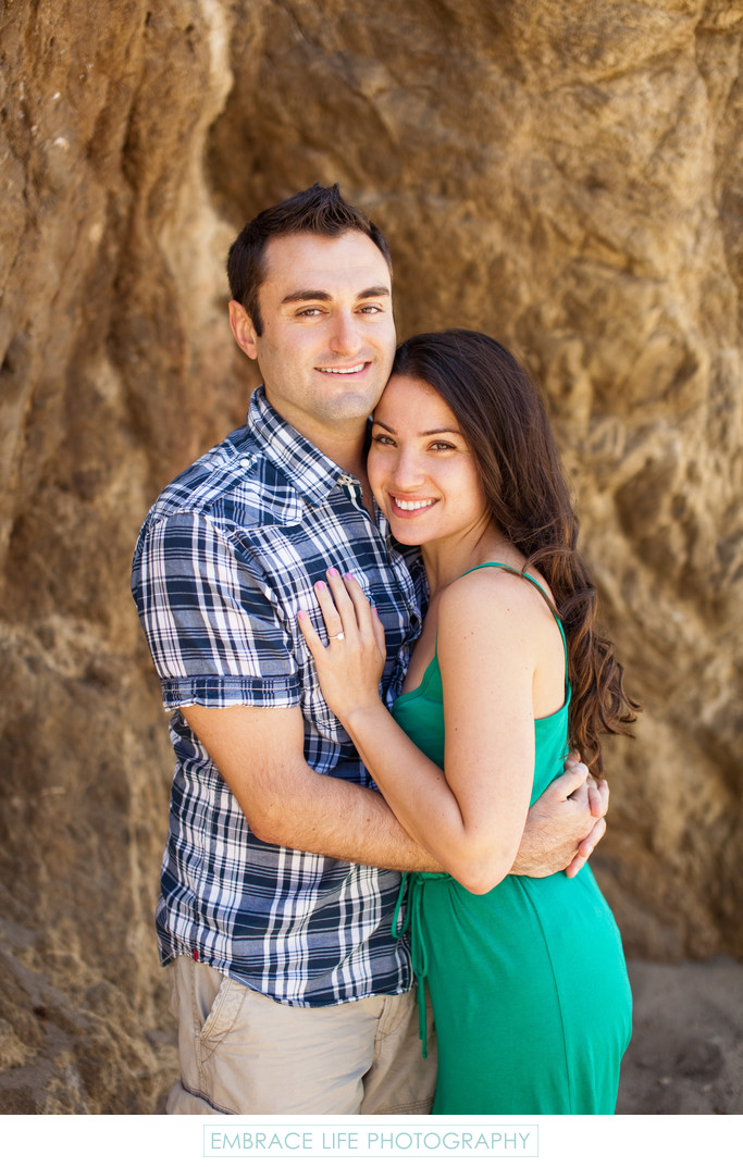 Malibu Proposal Portrait Showing Engagement Ring