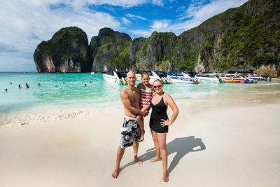 Adam, Amber and Faith on The Beach in Thailand