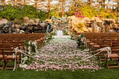 Bohemian Petal Covered Wedding Aisle