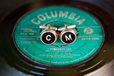 Vintage Monogram Cufflinks on Vinyl Record 45