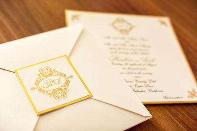 Gold Trim Wedding Invitations