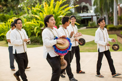 Thai Drummers Announce Groom at Destination Wedding