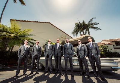 Groom and Groomsmen Photographed with Vintage Impala