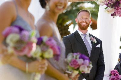 Smiling Groom Awaits Bride