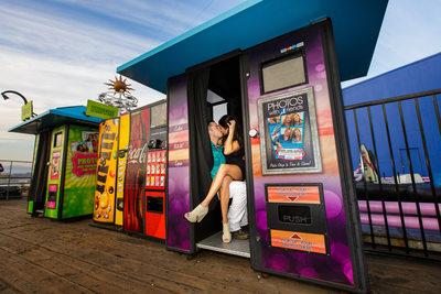 Colorful Santa Monica Proposal Photograph
