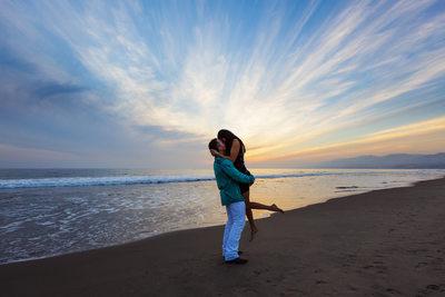 Sunset Proposal on the Beach in Santa Monica, CA