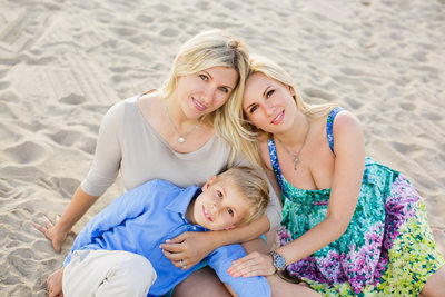 Sweet Family Portrait on the Beach in Santa Monica, CA
