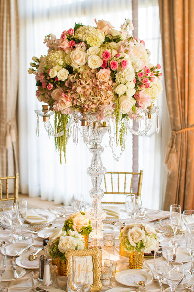 Tall Crystal Candelabra Floral Centerpiece