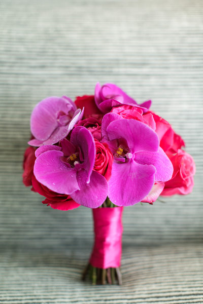 Fuchsia Orchid and Purple Rose Bouquet