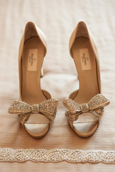 Valentino Rhinestone Bow Heels