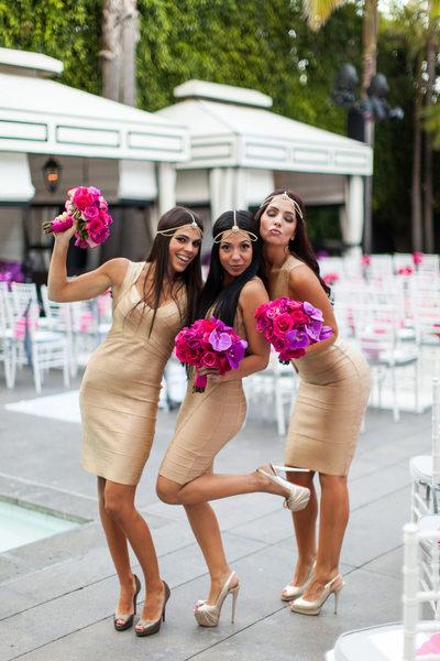 Bridesmaids Fun Pose Poolside