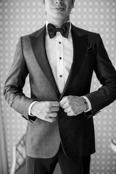 Black and White Closeup of Groom's Tuxedo Jacket