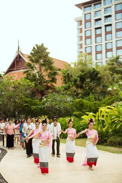 Thai Folk Dancers Lead Groom's Engagement Parade