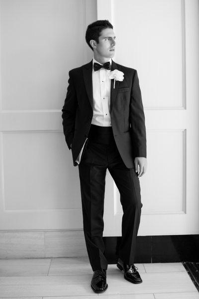 Stylish Groom in Black Tie Tuxedo