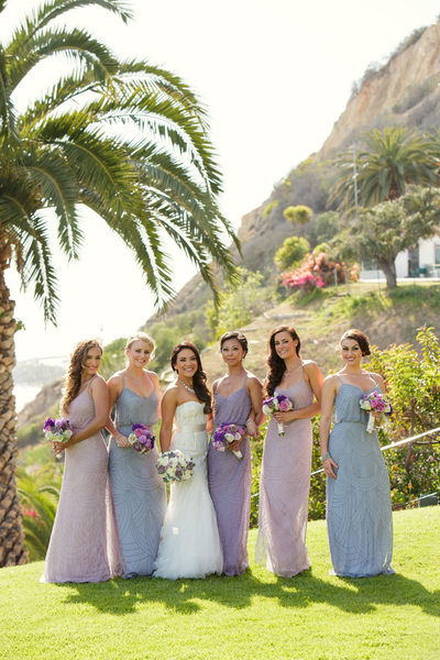 Bridal Party Overlooking Malibu Bluffs