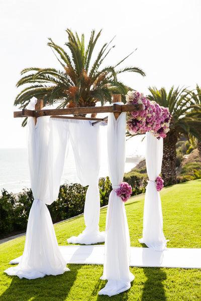 Chiffon Floral Rustic Wood Wedding Arch