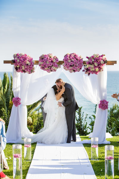 Los Angeles Beach Wedding Ceremony First Kiss