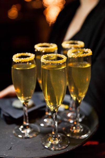 Gold Sugar Rimmed Champagne Glasses