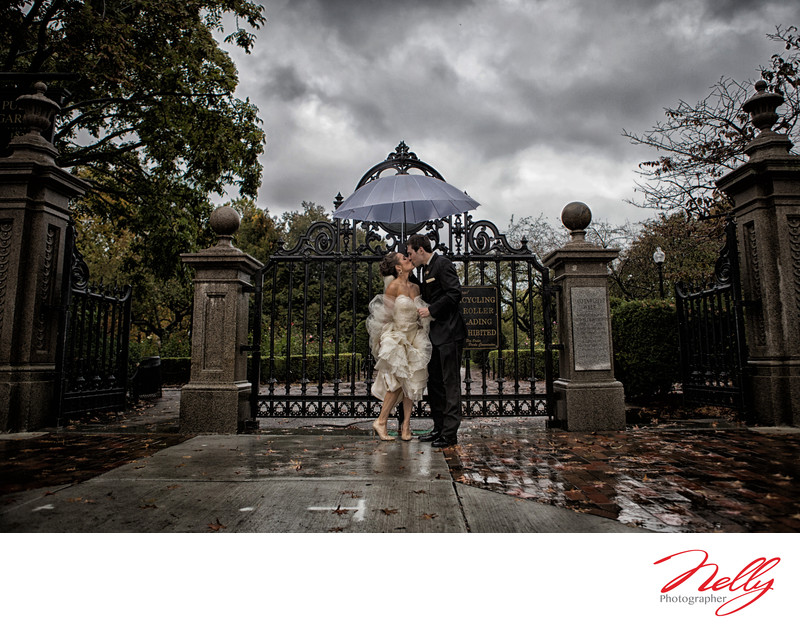 Rainy wedding day Boston Public Gardens