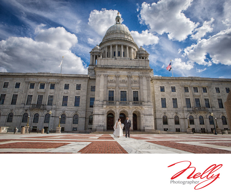 Wedding day bride & groom State House Rhode Island