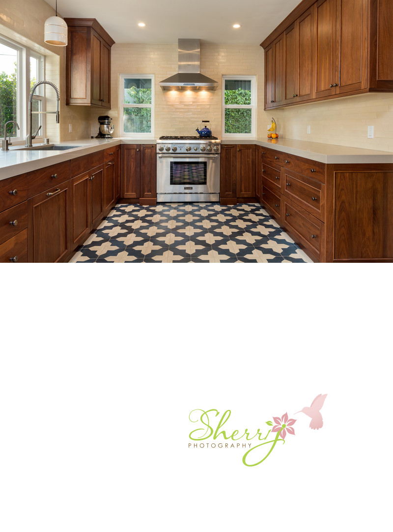 Spanish Kitchen tile floors warm wood