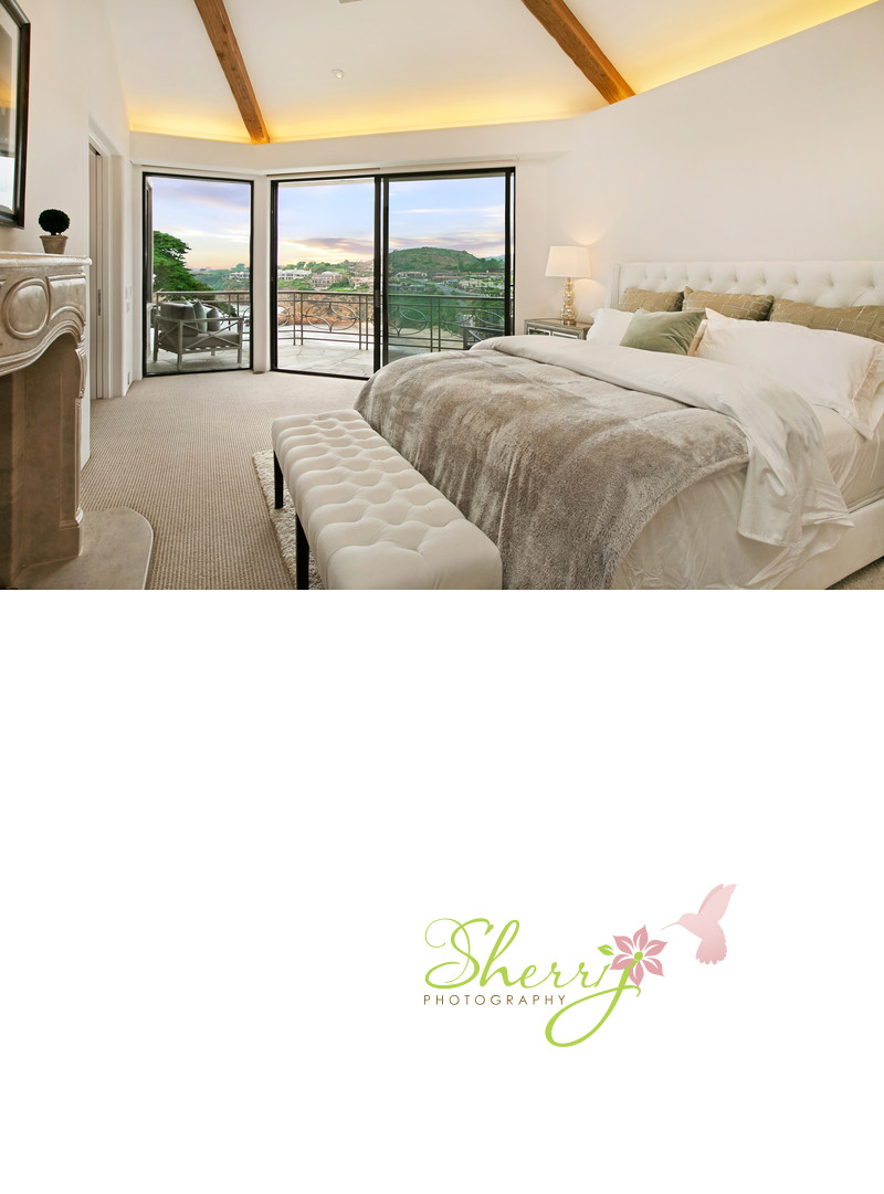 199 Emerald Bay master bedroom with sunset ocean view