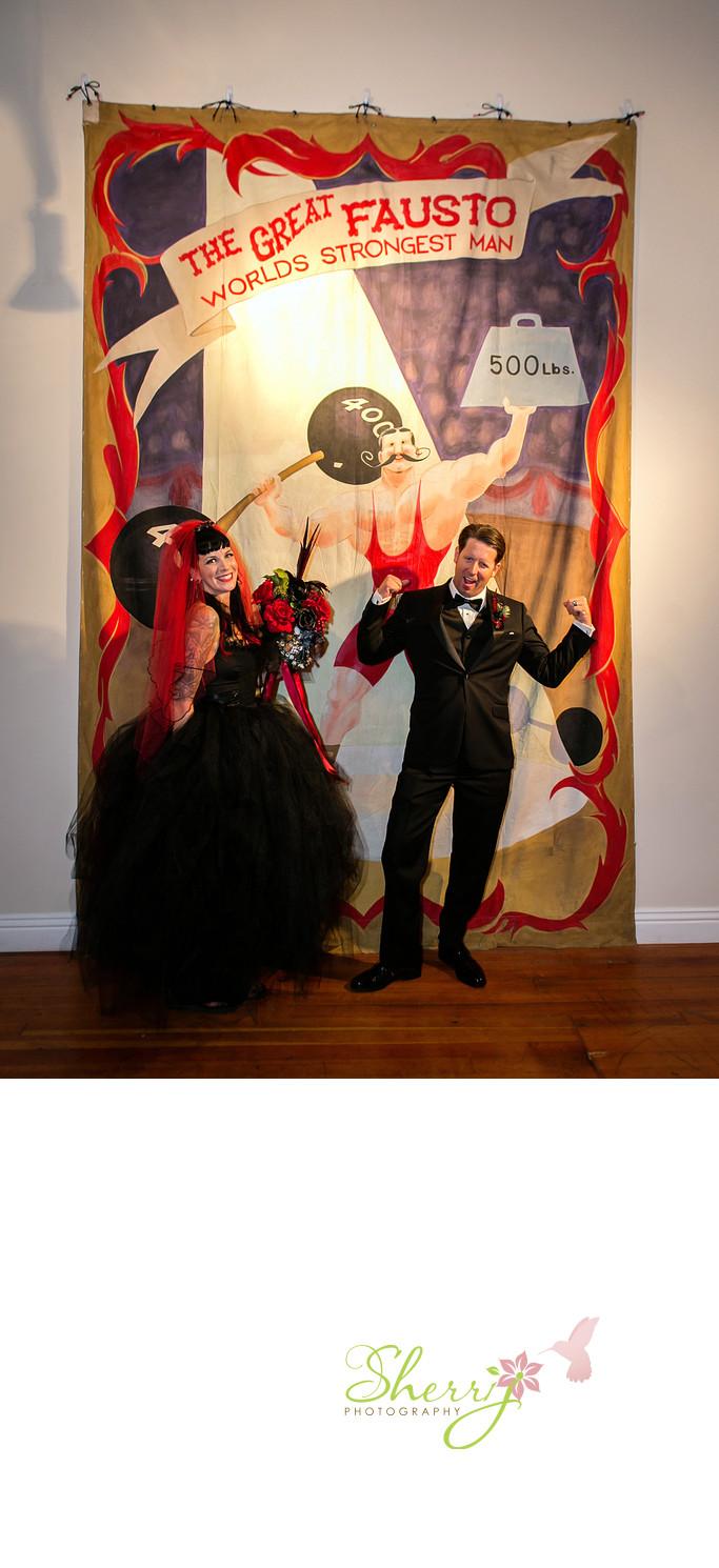 Vintage Circus Wedding Black Gown