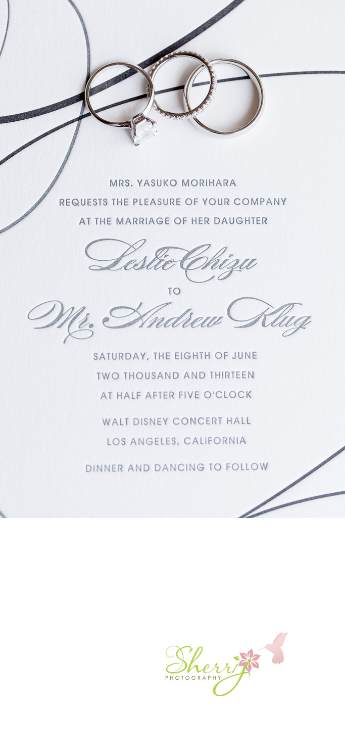 letterpress wedding invitation walt disney concert hall