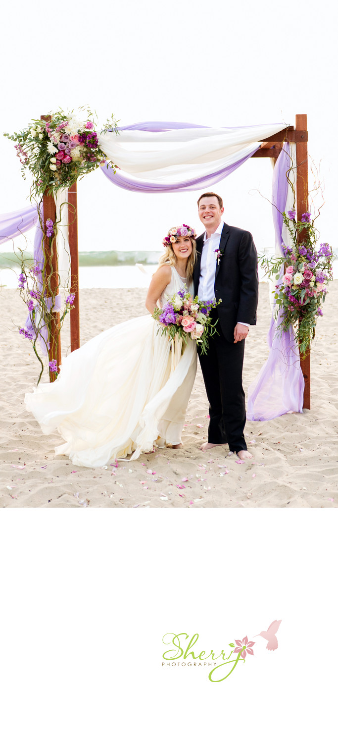 Purple Beach Wedding Bride and Groom Oc Beach Weddings