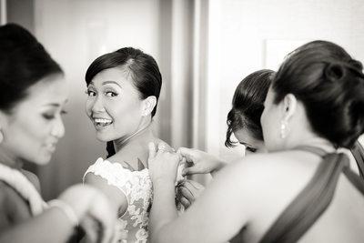 bride getting ready BW
