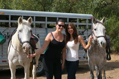 Sherri Johnson and Dr Lamees Khorshid horseback riding