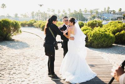 Sherri J in Long Beach with Bride and Groom
