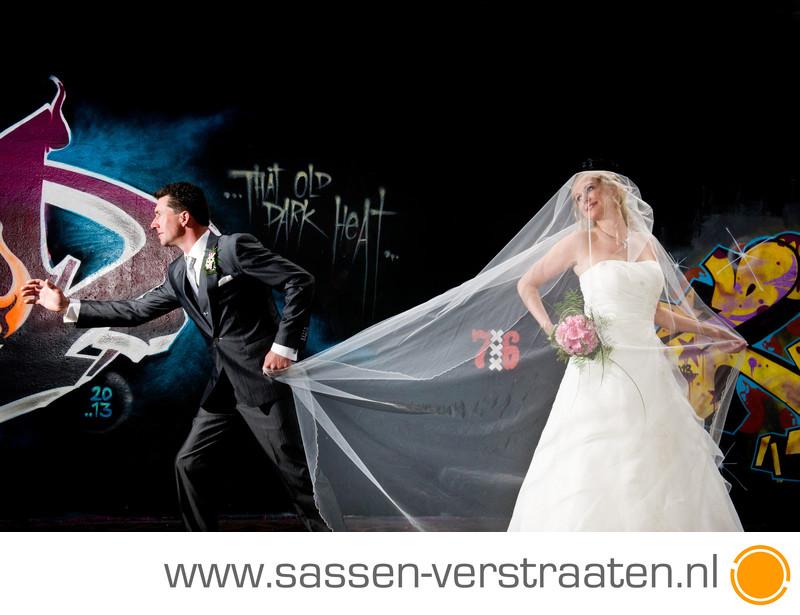 Huwelijk met graffiti