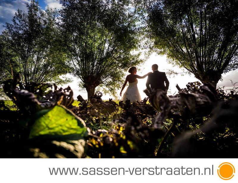 Tegenlicht en een bruidspaar bruidsfotografie