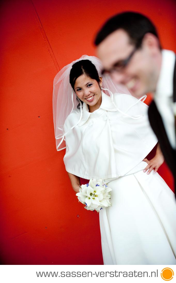Kleur in de bruidsfoto's