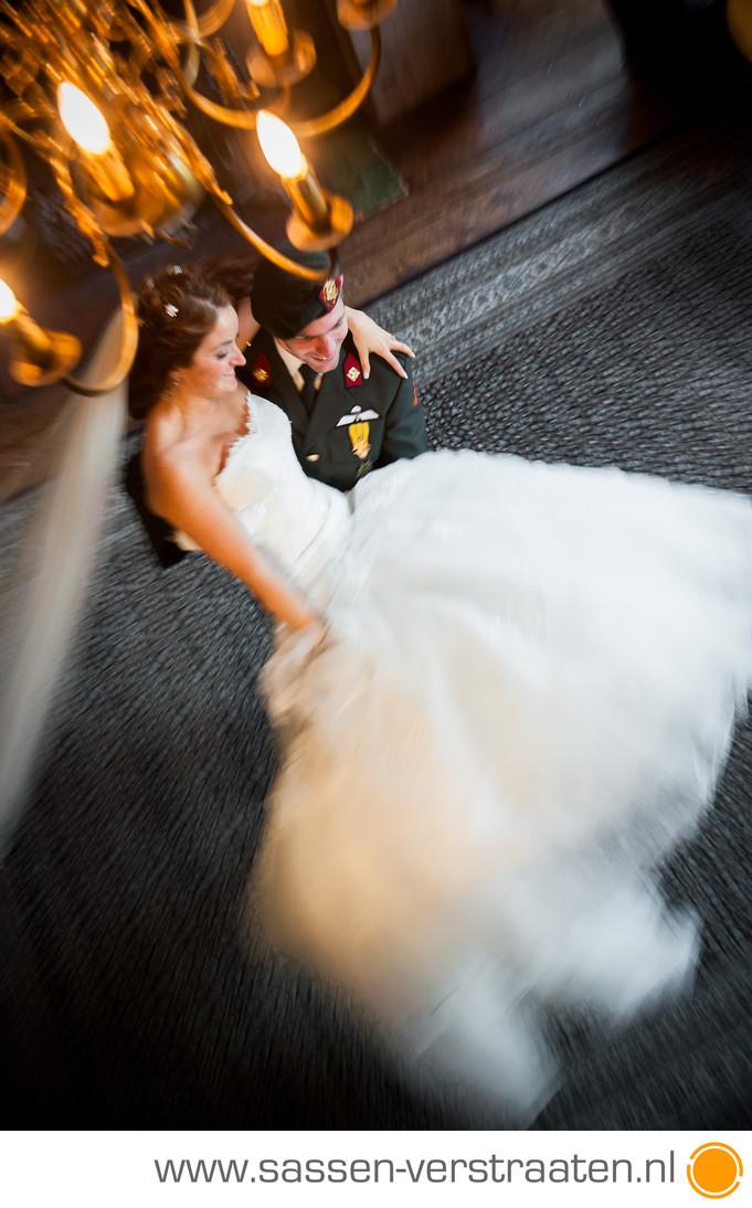 Bruidsfoto met beweging