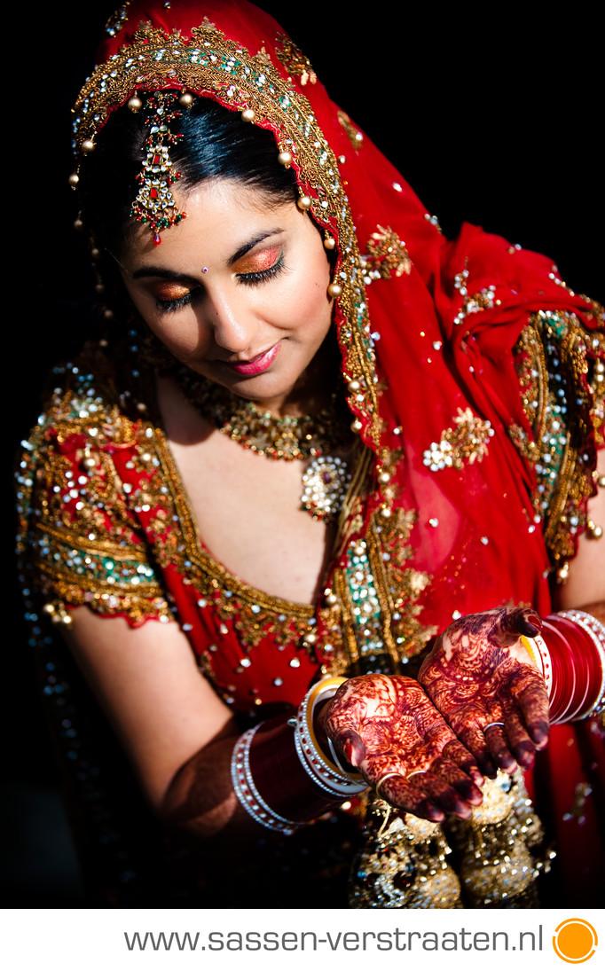 Punjabi huwelijk met henna