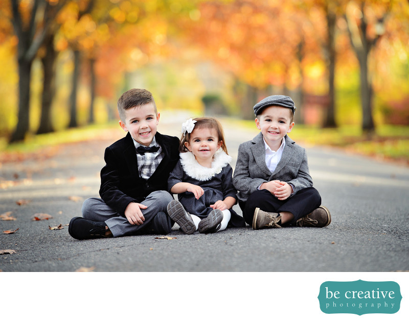 kids fall portraits siblings foliage outdoors cute