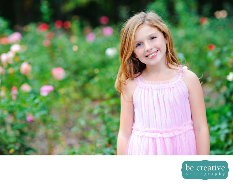 spring kid portrait nj flowers blooming lively