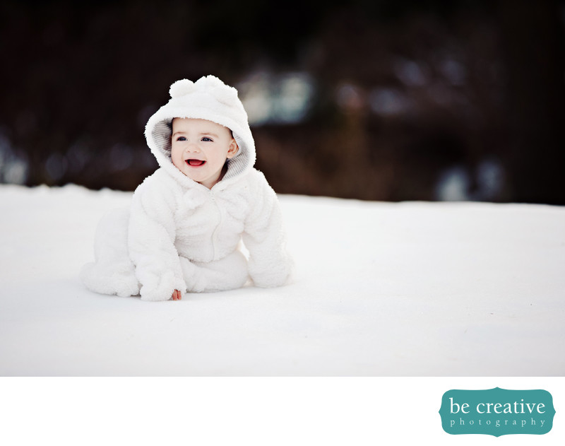 baby portraits winter nj photographer snow cute smiles